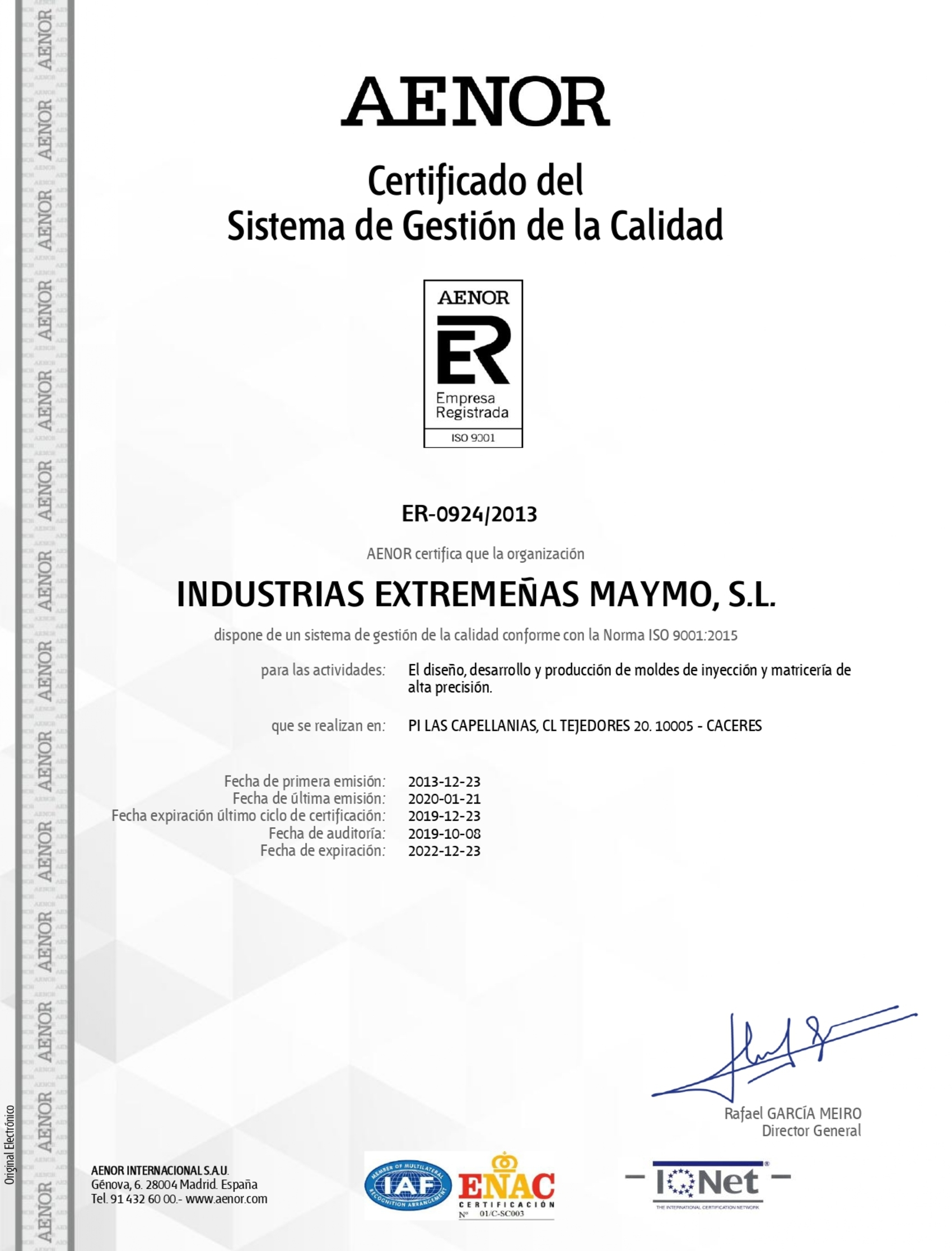Spanish AENOR Certificate