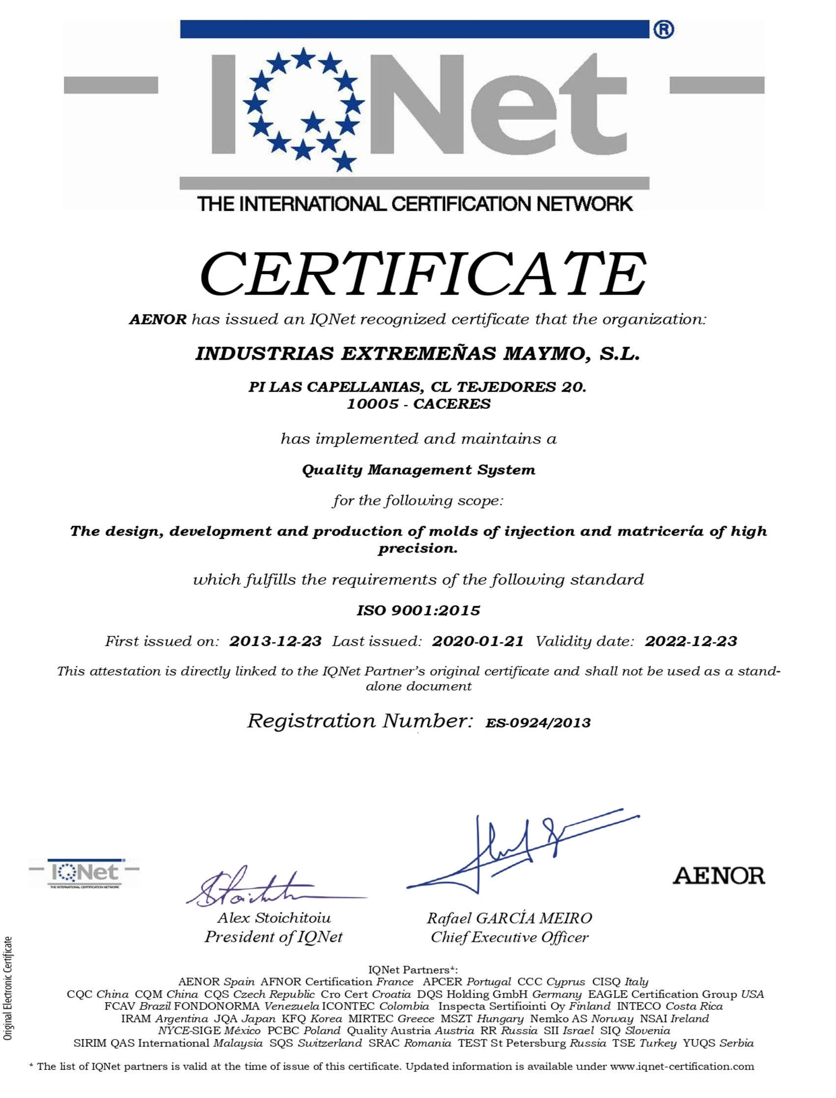 International IQNet Certificate